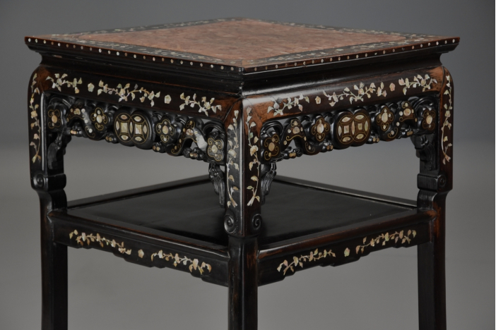 19thc Chinese inlaid pot stand