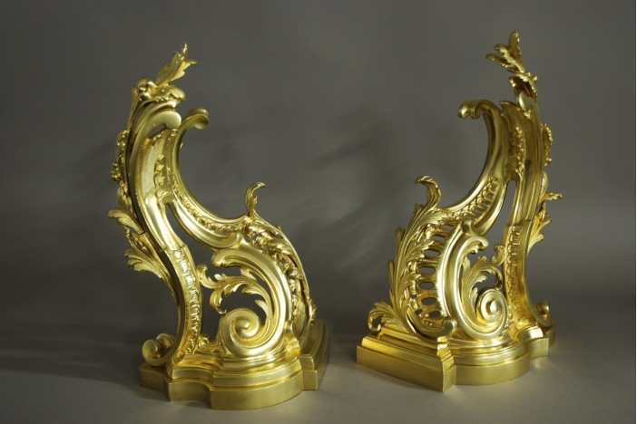 Pair of Rococo style chenets
