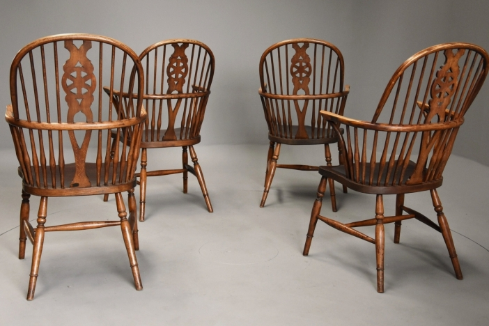 Four Windsor armchairs
