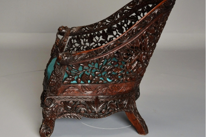 19thc carved Indian armchair