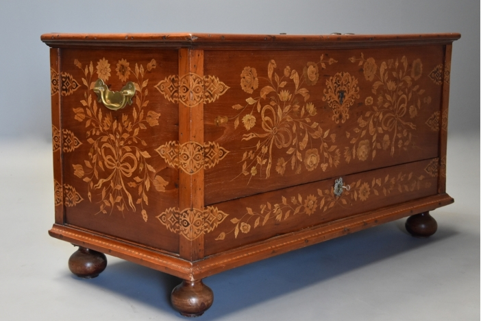 Floral marquetry teak chest