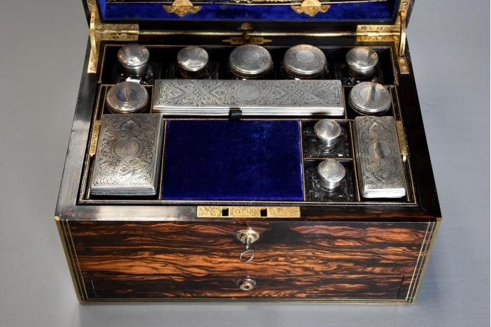 Coromandel & brass vanity box