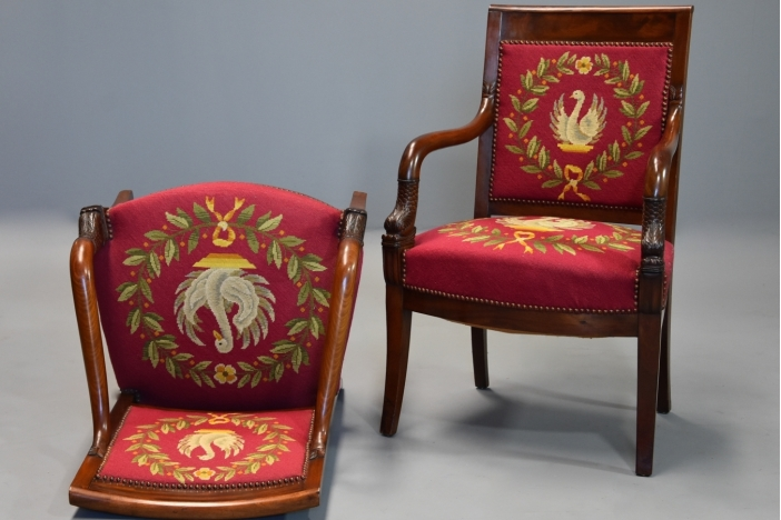 Pair French Empire fauteuils