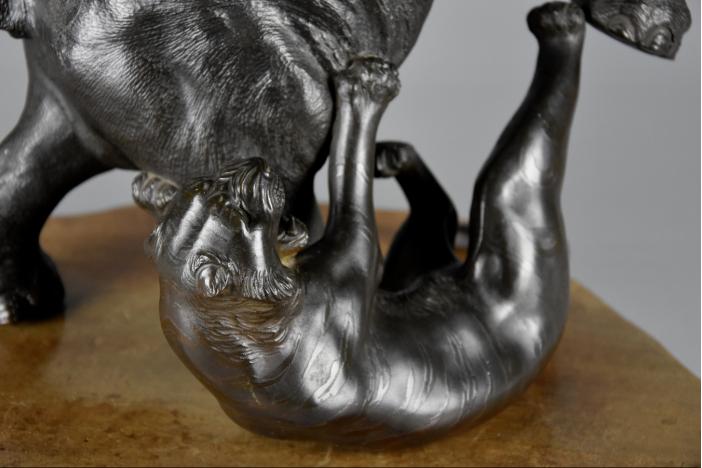 Meiji elephant & tiger bronze