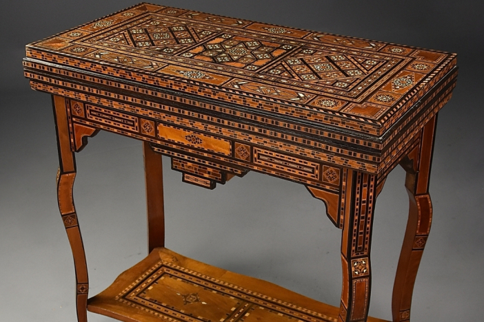 Damascus inlaid games table
