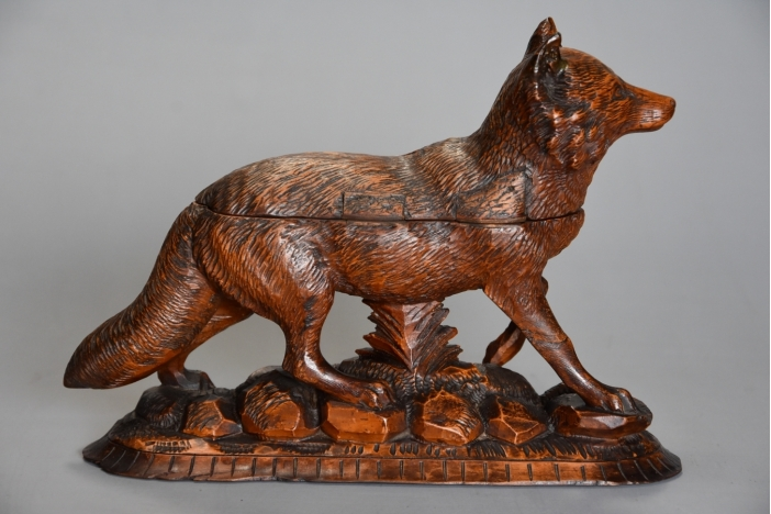 Carved Black Forest fox