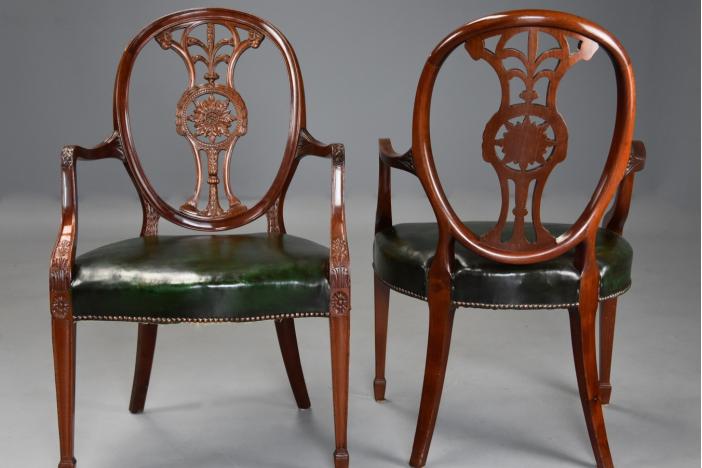 Hepplewhite style armchairs