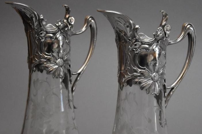 Pair Art Nouveau claret jugs