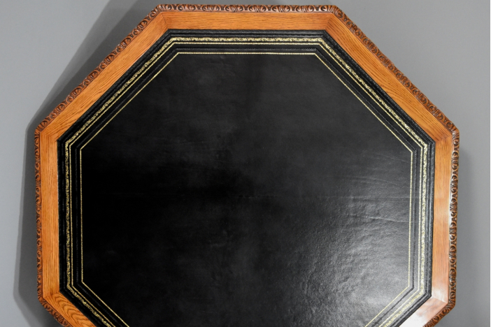 Octagonal oak library table