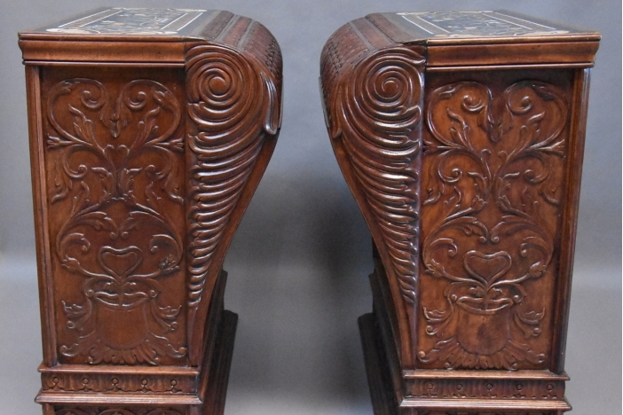 Large pair walnut pedestals