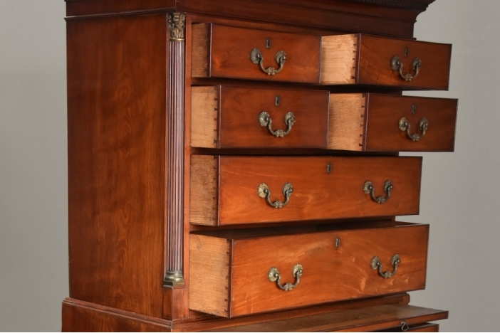 18thc mahogany chest on chest