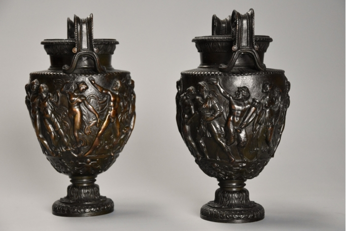 Pair bronze Townley Vases