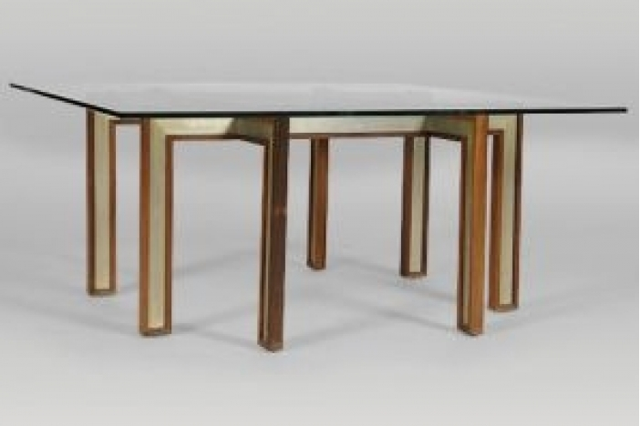 Rosewood and Steel Inlay Table