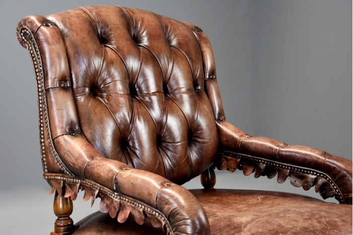 French brown leather armchair