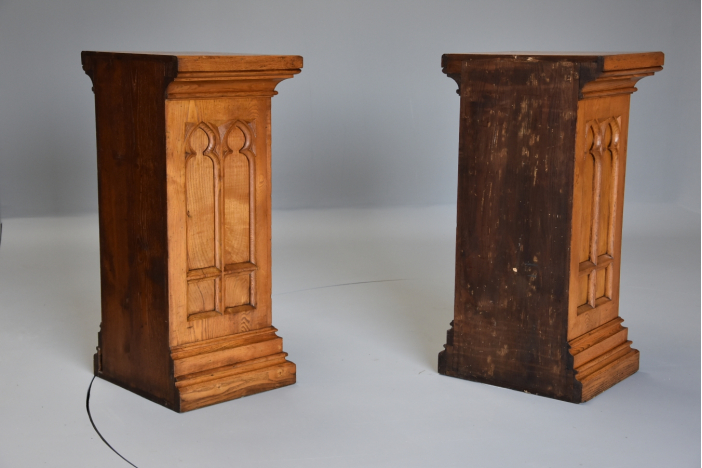 Pair Gothic style pedestals