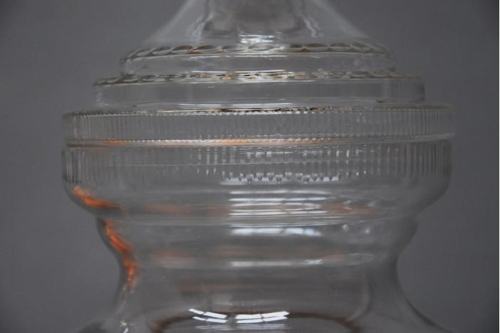 Large pair cut glass jars