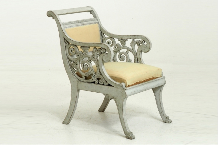 Scandinavian wing-back chair.