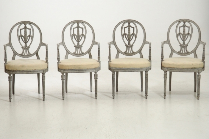 Four armchairs, late 19th C.