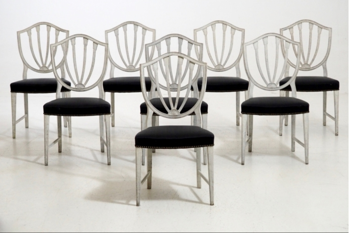 Eight chairs, late 19th C.