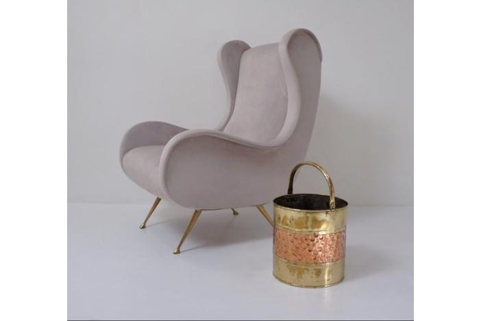 Antique brass bucket/bin