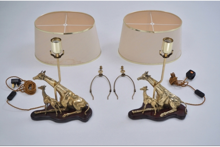 Brass giraffe table lamps