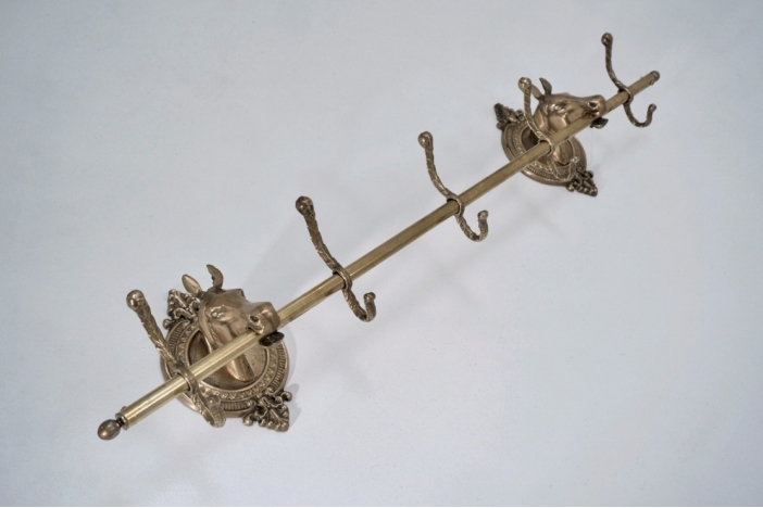 Coat rack brass horses