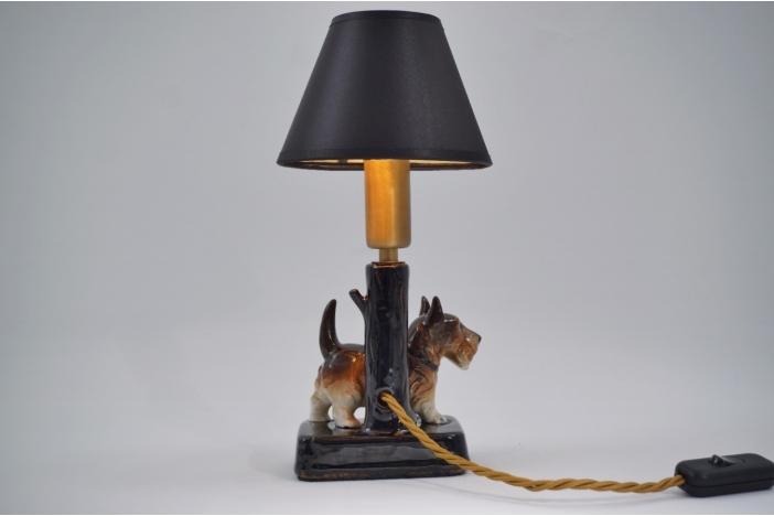 Ceramic dog table lamp