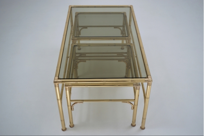Gold table with side tables
