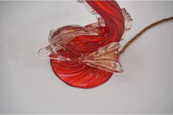 Murano glass fish lamp