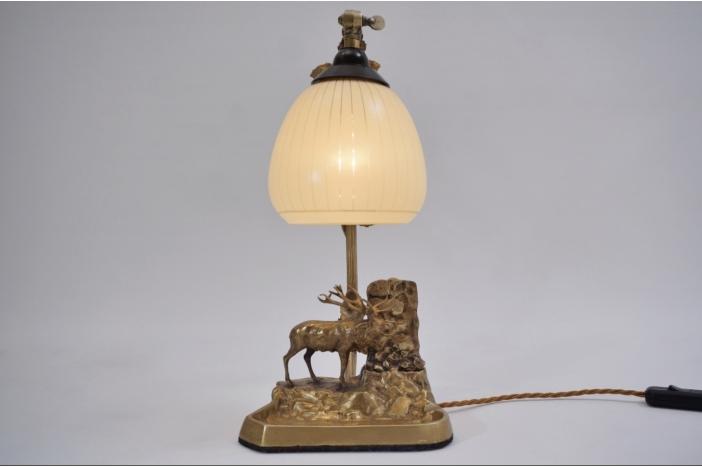 Art Deco bronze moose lamp