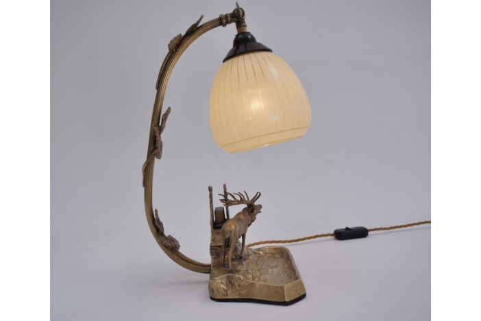 Art Deco bronze moose lamp