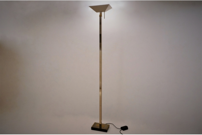 Chrome & brass floor lamp