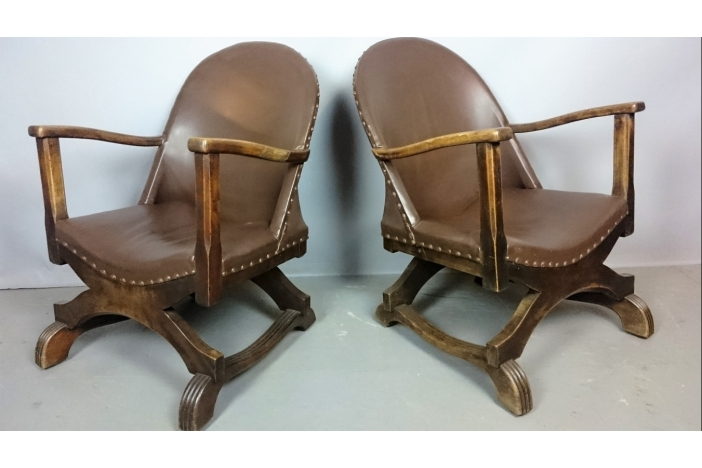 Deco Leather Armchairs