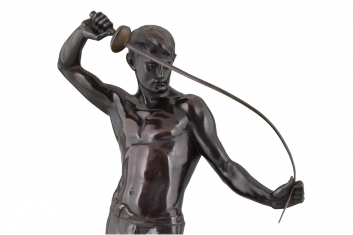 Bronze male nude fencer
