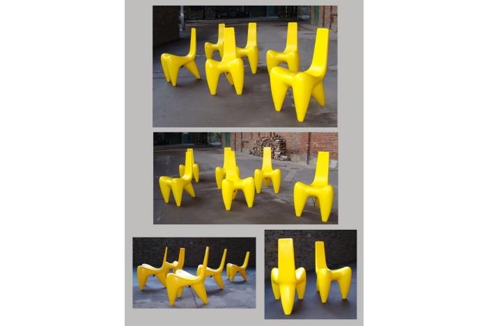 Set of 6 lighting chairs