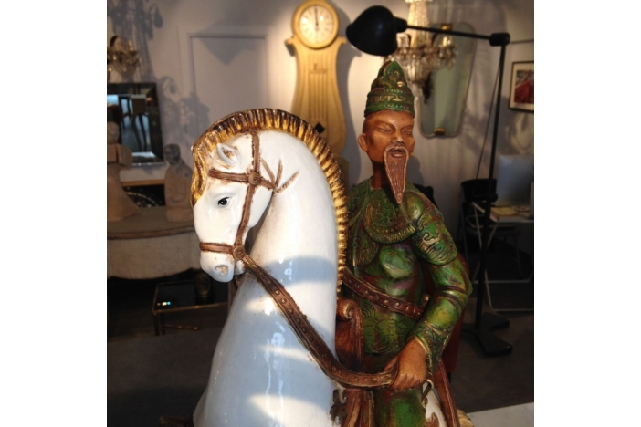 Polychrome Ceramic Statue