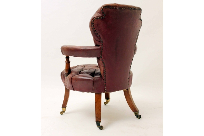 19thc Leather Desk Chair
