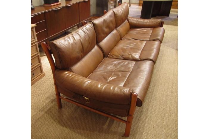 A three seat leather sofa