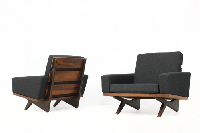 60s rosewood armchairs Thams