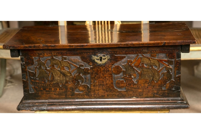 A 17th C. Carved Travel Box