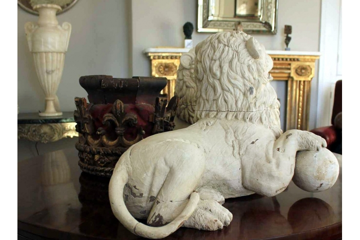 Pair of 19thC Carved Lions