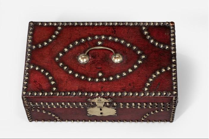 Brass studded leather box