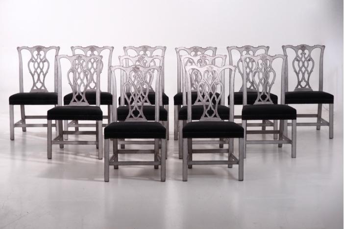 12 European chairs, 19th C.