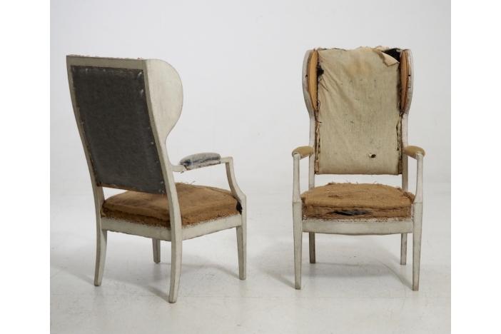 Swedish armchairs, 19th C.