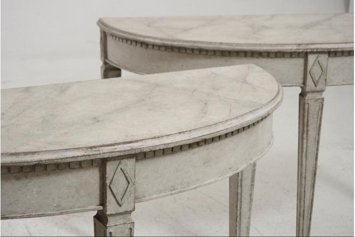 Demi-lune tables, 19th C.