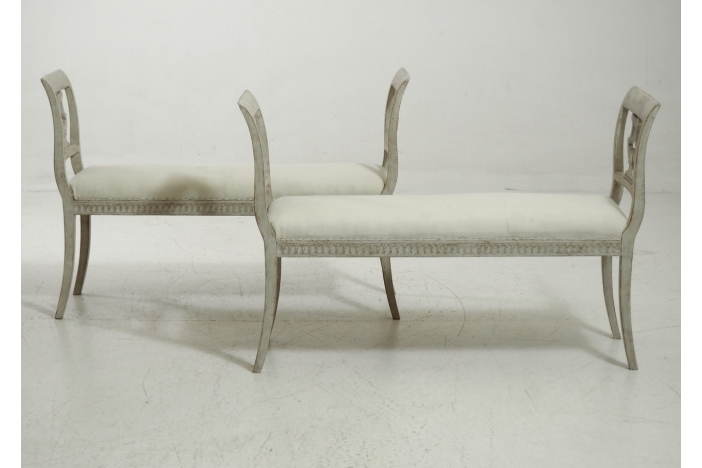 Pair of benches, 19th C.