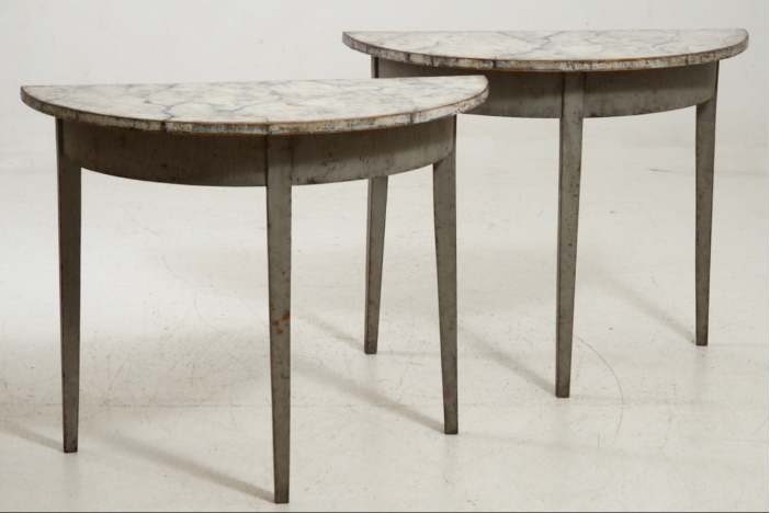 Gustavian tables, circa 1820.