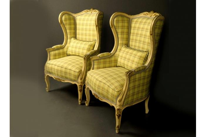 Antique pair of Wing Armchairs