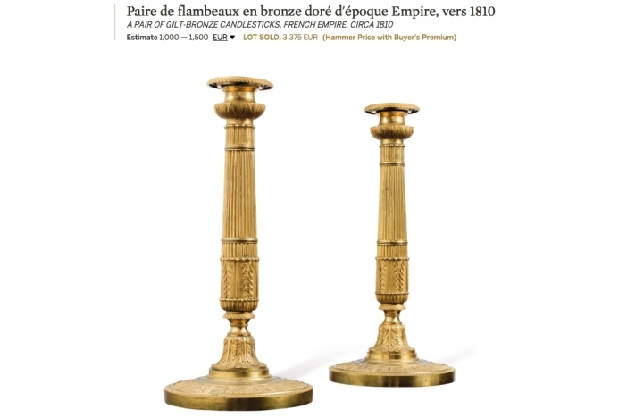PERIOD EMPIRE CANDLESTICKS