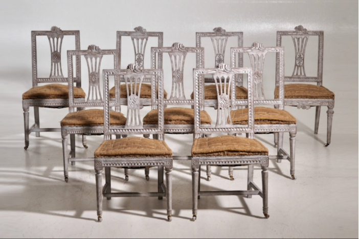 Set of 8 European armchairs.